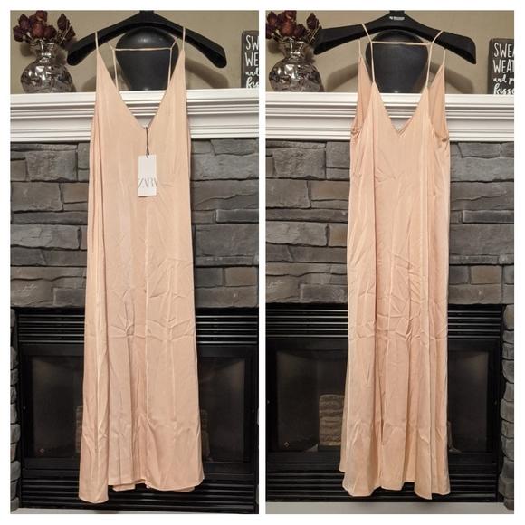 Zara Pink Maxi Dress (Silk/Satin Like Material)
